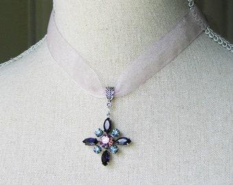 Purple star flower, Rhinestone Pendant, 18th century style