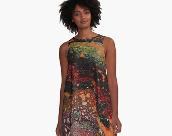 MICROBIOME A-Line Dress Science Art Swing Trapeze Dress  XS S M L XL 2XL Abstract Art Multi Coloured Woman Teen Girls Wearable Art Clothing
