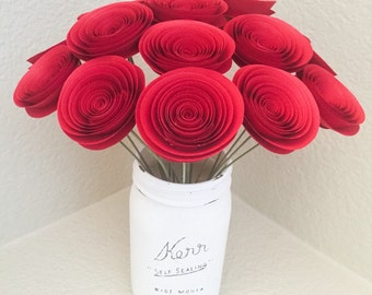 Paper Anniversary - Red Flowers - Wedding - Home Decor - Baby Shower - Birthday Gift - Paper Anniversary - Red Roses - Table Centerpieces