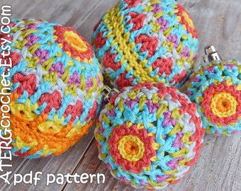 Crochet pattern Christmasball structure in 4 sizes by ATERGcrochet