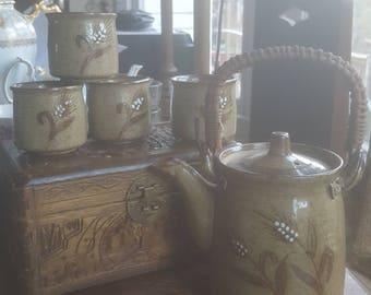 Vintage Tea Set Handcrafted Bamboo handled Teapot 4 matching cups Otagiri Original Japan Stoneware Pottery Wheat Motif