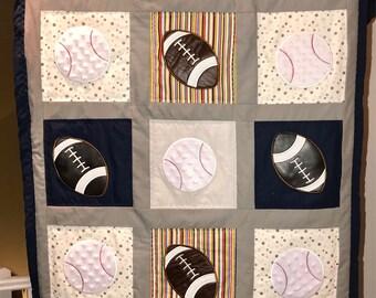 Custom baby quilt sports