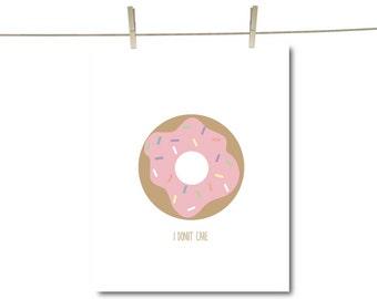 Donut Print | I Donut Care | Donut Pun Art | Gallery Wall Art