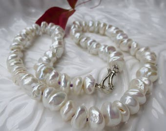 Pure Nacre Edgy White Keshi Pearl Necklace Sterling Silver 925 Hook Clasp 11 mm Freshwater Lustrous Hand Knotted on Violet Beaders Secret