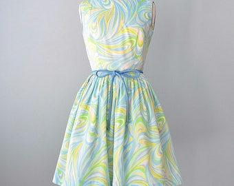 1960s Day Dress...Vintage Abstract Print Cotton Summer Dress 27 inch Waist