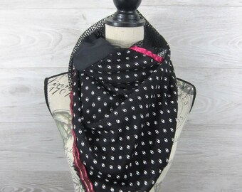 100x100cm square fashion scarf black and grey feathers 2.09.48