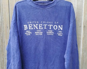 Vintage United Colors of Benetton Distressed Spell Out Sweatshirt