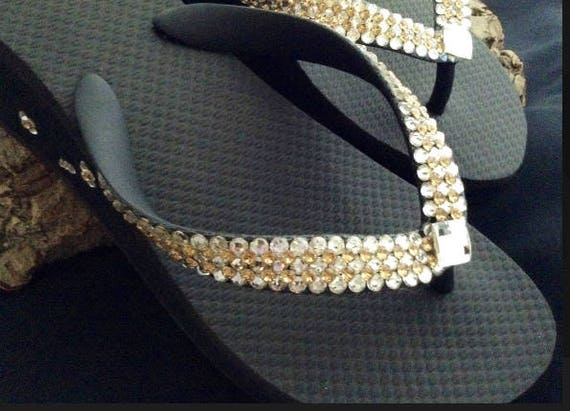 Gold Crystal flip flops Super Bling wedding Jewel Havaianas Flat or Wedge 1.5 Heel w/ Swarovski Crystal 3D Ice Cap Beach Bride Bridal Shoes