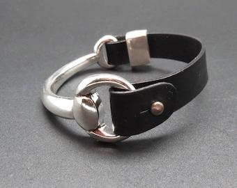 Leather 1/2 ring Necklace Bracelet