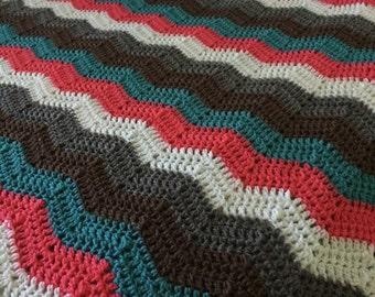 Crochet chevron blanket in custom colors throw afghan zig zag