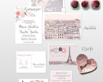Destination wedding invitation set Paris France Parisian Wedding Invitation Suite European wedding - Illustrated invitation -Deposit Payment