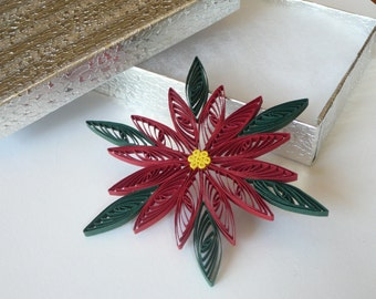 Paper Quilled Christmas Poinsettia Ornament Gift Topper ~ Teacher Gifts ~ Gifts Under 5.00 ~ Gifts under 10.00