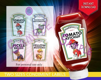 Paw Patrol - Chase, Marshall, Rocky, and Rubble, Heinz Condiment Bottle Labels Party Decoration - Instant Download