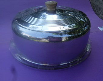 Retro Chrome Cake Cover with Roses Design Footed Plate