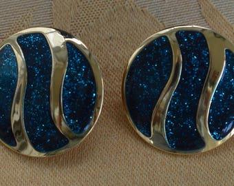 Teal Blue Glitter Clip  Earrings, Gold tone, Vintage (AH13)
