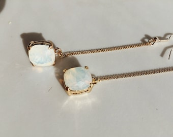 Irridescent Opal Drop Chain Earrings