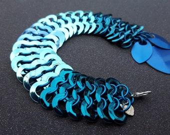Blue Ombre Fantastic Creatures Chainmaille Bracelet OOAK