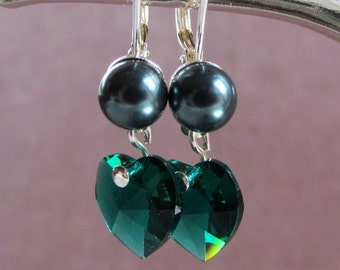 6mm Half Drilled Spheres and Swarovski Crystal Hearts Dangle Earrings