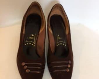 Vintage shoes 80s Brown Leather suede court shoes pumps by K size UK 6.5  EU 39  US 8.5