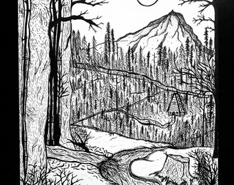 Woodsy Mountain & Cabin Drawing