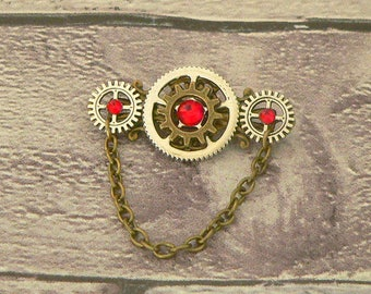 Red Brooch, Steampunk Brooch, Steampunk Pin, Neo Victorian Brooch, Steampunk Jewellery, Victorian Jewellery, Steampunk Jewelry