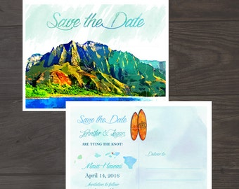 Destination wedding invitation Hawaii Wedding Watercolor Save the Date Card postcard illustrated wedding save the date DEPOSIT PAYMENT