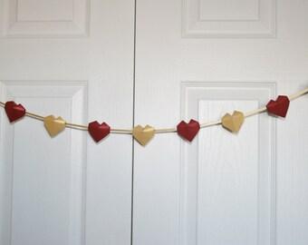 Valentine Heart Garland.Paper Heart.Paper Garland.Origami Garland.Christmas, Wedding, Bridal Shower Decor.Gold Red Garland.Party decoration.