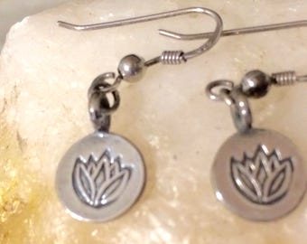 LOTUS earrings, Lotus Flower earrings, Silver lotus earrings, Sterling Silver lotus earrings, Lotus flower jewelry