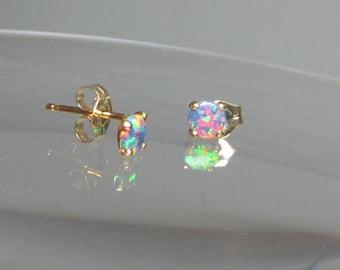 Opal Earrings, Opal Studs, Multicolored Opals, Opal Stud Post, Stud Earrings, Opal Jewelry