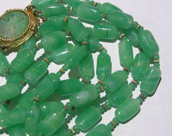 Vintage layred Necklace . Peking art glass . Designer   jewelry