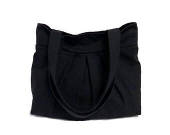 Black Fabric Handbag, Pleated Shoulder Bag, Black Canvas Fabric Bag, Pleated Bag, Gift for Women, Black Handbag, Black Shoulder Bag