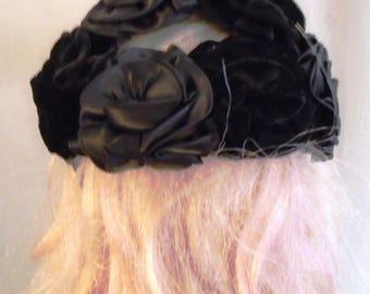 Vintage 1950s Hat Black Velvet and Satin Roses Calot Mini Hat One Size