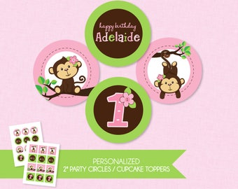 Sweet Monkey Girl 2'' Cupcake Toppers / Birthday Party Circles