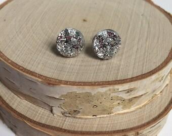 Stud  Earrings - Silver Druzy - 10mm