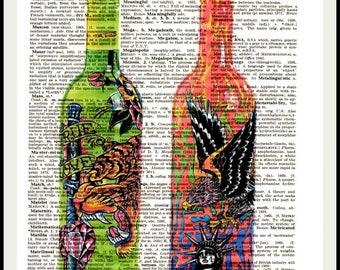 Decorative Dictionary Art Print,Vintage poster,Gift ideas,Wall decor,Digital illustration,Kitchen Home& Living,Bar 2 colorful pop  bottles