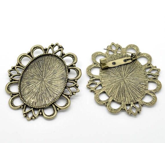 Support cabochon brooch color bronze 6 cm