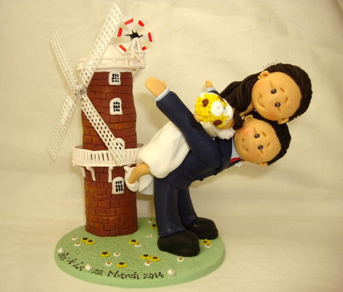 Windmill theme wedding cake topper personalised bride and