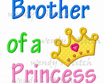 Brother of a princess crown applique machine embroidery design instant download