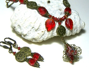 ON SALE Ruby Red Beaded Necklace Earring Jewelry Set Top Selling Jewelry Beaded Necklace Gift Set Red Leaves Necklace Red Leaf Jewelry Set