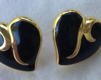 Vintage Trifari black enamel heart earrings