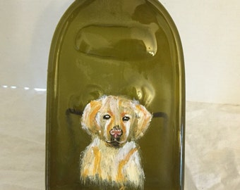 Hand Painted Yellow Lab Amber Glass Wine Bottle Cheese Tray/Platter