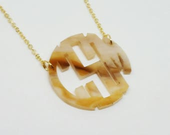 "Small 1.5"" Kids Horn Acrylic Monogram Necklace"