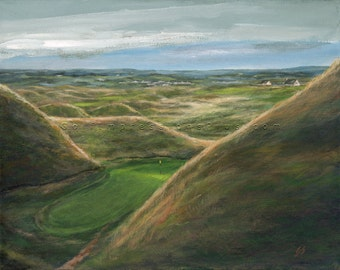 Golf Art. Wall Decor. Golf Gift. The Dell Lahinch Golf Course, Ireland. Print of original acrylic painting.