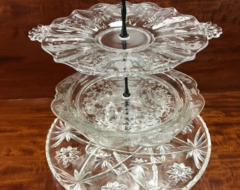 3 tier cake plate clear pressed glass