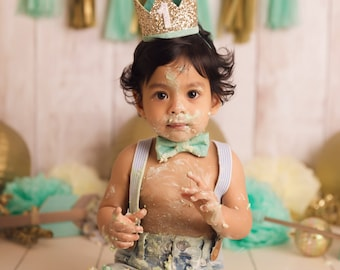 First Birthday Crown | 1st Birthday Boy Outfit for Cake Smash | Baby Boy First Birthday Outfit | 1st Birthday Hat | Gold Mint White
