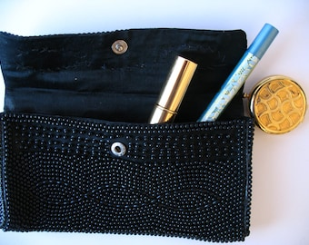 Vintage beaded black clutch -1970's- retro glam style