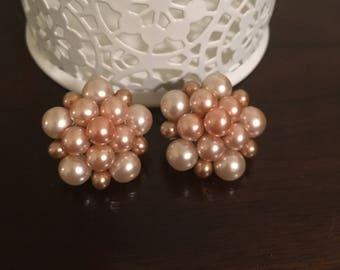 Vintage Pink Cluster Earrings