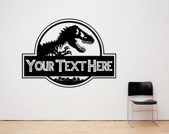 Personalized Jurassic Dinosaur Wall Decal Sticker Art. Various Colors & Sizes(#112)