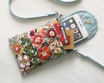 Iphone 6 or 7 Plus Smart Phone Gadget Case Detachable Neck Strap Quilted Fabric Floral Print Orange Blue Cream