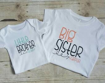 Big sister, little brother shirts, Personalized children's shirts, sibling shirt, matching shirt sets, kids shirts, newborn outfit,